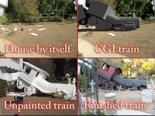Nearly Lifesize train crashed through house